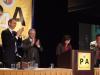 U.S. Secretary of Labor Hilda Solice (speaking), Nat'l Exec. VP Steve VanSlooten, Nat'l Pres. Mike Langford, Nat'l VP John Duffy