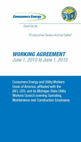2010 Omc Working Agreement Michigan State Utility Workers Council