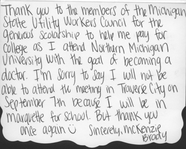 Thank You Letter Mckenzie Brady Michigan State Utility Workers