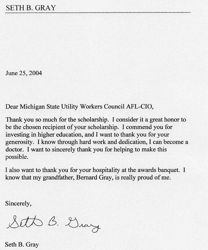 Hicks Scholarship Thank You Letters  Michigan State Utility