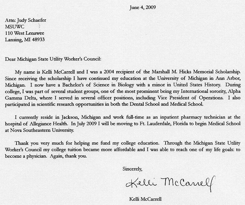 Hicks Scholarship Thank You Letters | Michigan State Utility Workers on pharmacy technician reference letter sample, technical writer cover letter sample, example of quality technician cover letter sample, medical administrative assistant cover letter sample, pharmacy technician resume sample no experience, painter cover letter sample, resident assistant cover letter sample, pharmacy cover letter,