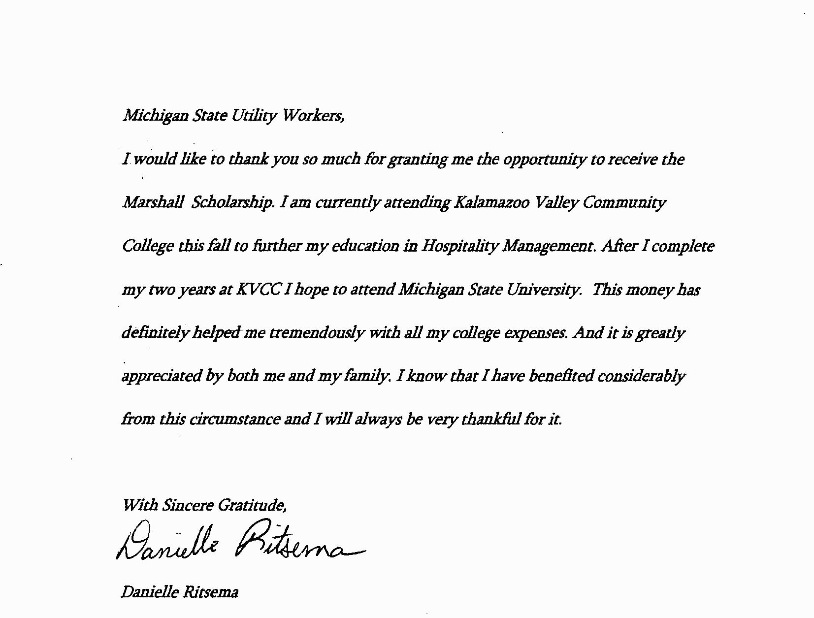 Hicks Scholarship Thank You Letters  Michigan State Utility Workers