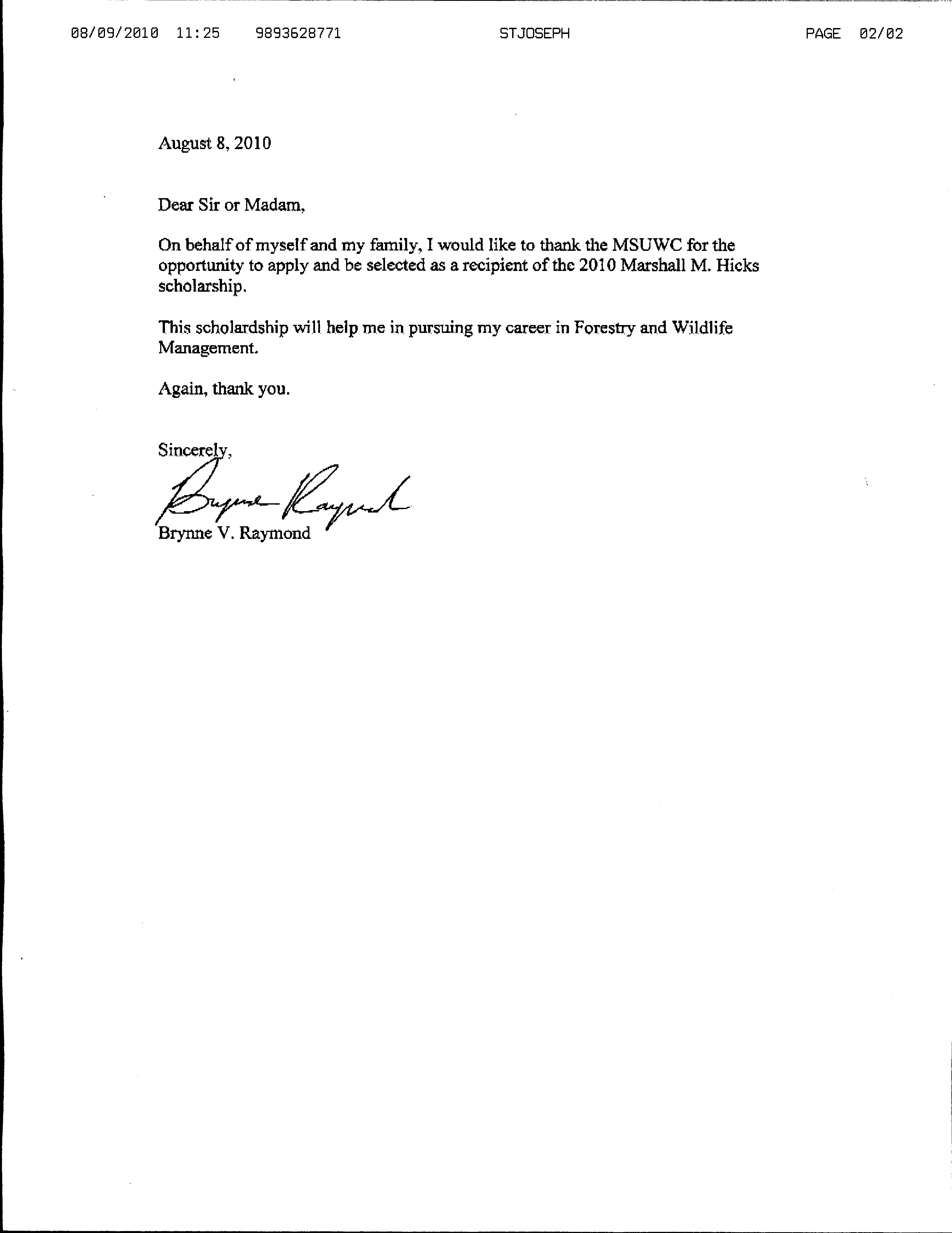 Example Of Thank You Letter For Scholarship Grant from msuwc.org
